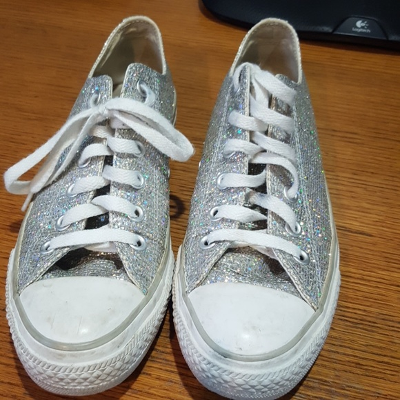 149d855317d026 Converse Shoes - silver holographic glitter Converse all stars